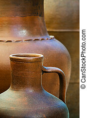 Clay pottery - Background image with details of three clay...