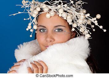 Winter girl with pearl tiara