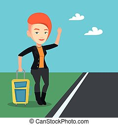 Young woman hitchhiking vector illustration. - Young...