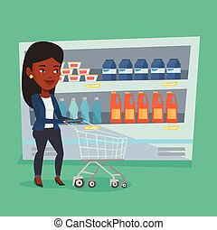 Customer with shopping cart vector illustration. -...