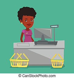 Cashier standing at the checkout in supermarket.