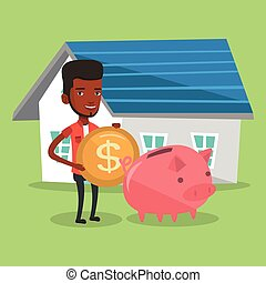 Man puts money into piggy bank for buying house. - Young...