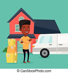 Man moving to house vector illustration. - Homeowner...