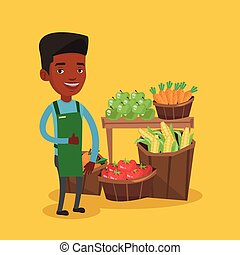 Friendly supermarket worker vector illustration. - Young...