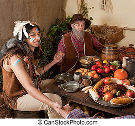 Thanksgiving reenactment - Reenactment scene of the first...