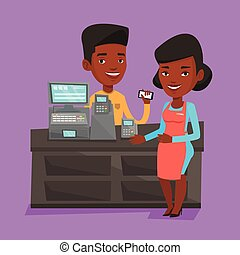 Customer paying wireless with smartphone. - Woman paying...