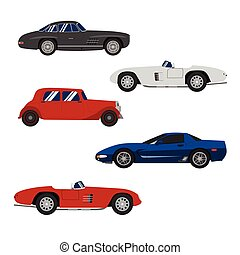 Retro cars classic and sport cars wheel set vector  illustration