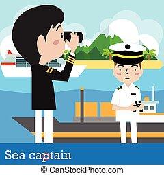 Ship captain - vector ship captain sailor sea