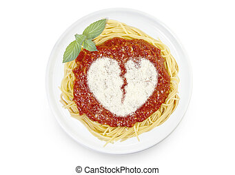 Dish of pasta with tomato sauce and parmesan cheese in the shape of a broken heart .(series)