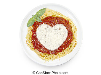 Dish of pasta with tomato sauce and parmesan cheese in the shape of a heart .(series)