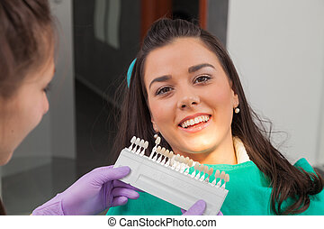 Dentist examining a patient's teeth in the dentist