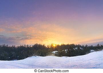 winter sunset bright photo - bright winter photo nature...