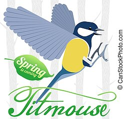 Bird titmouse vector logo - Bird titmouse vector card....