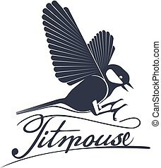 Bird titmouse vector logo, label, element. Trees, tree buds,...