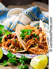 Slow Cooker Shredded Chicken Tex-Mex.selective focus