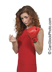 Boxing - Beautiful young woman wearing a pair of boxing...