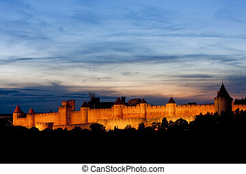 Carcassonne at night, Languedoc-Roussillon, France