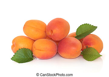 Apricot Fruit - Apricots with leaf sprigs, isolated over...
