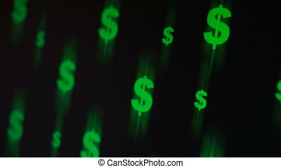 Flying dollar signs - Flying dollar green symbols at black...
