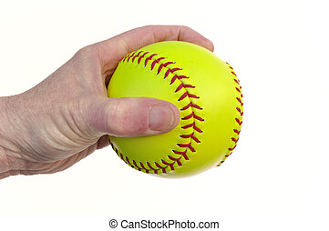 Player Holding a Yellow Softball