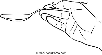 Hand holding a spoon on white background of vector illustrations