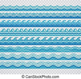 Blue transparent wave patterns