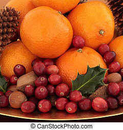 Christmas Fruit and Nuts - Cranberry and tangerine fruit...