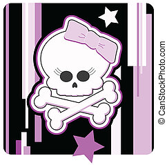 Girly Skull & Crossbones - Cartoon illustration of a Girly...