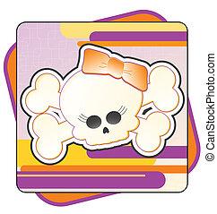 Girly Skull & Crossbones - Cartoon illustration of a Girly...