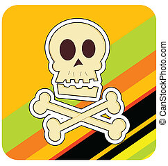 Skull & Crossbones Illustration - Cartoon illustration of a...