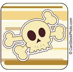 Skull & Crossbones Illustration - Cartoon illustration of a...