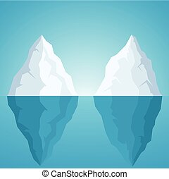Iceberg on blue background
