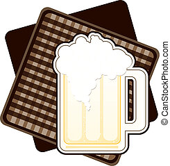 Beer - Illustration of a mug of beer, on brown checked...