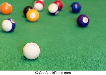 Pool balls on green baize table