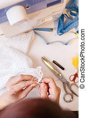 artesanías, mujer, ocupado, joven