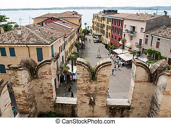View of Piazza Castello from the Scaliger Castle in...