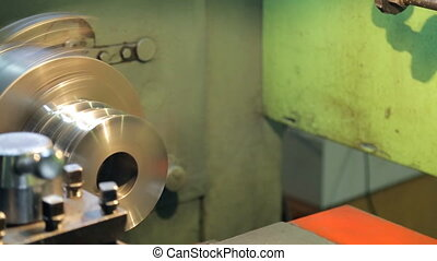At factory the cylinder is processed quickly on a horizontal...