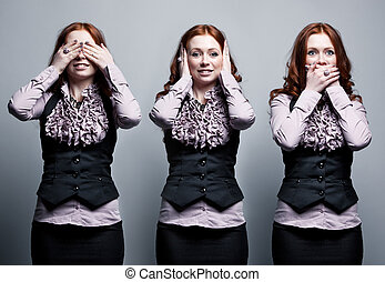 See, hear, speak no evil businesswoman concept.