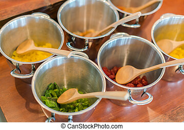 Salads on buffet table at restaurant . - Salads on buffet...