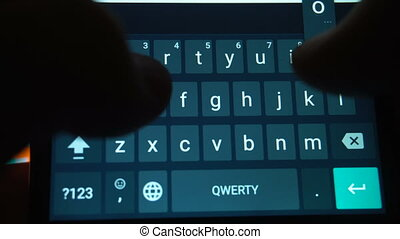 Hands of man typing text using smartphone - Hands of man...