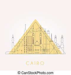 Outline Cairo skyline. - Outline Cairo skyline with...