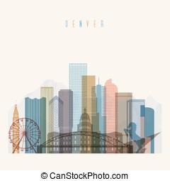 Denver state Colorado skyline detailed silhouette.