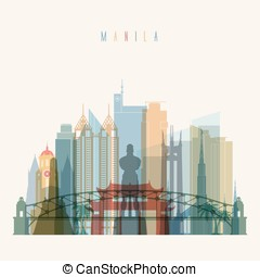 Manila skyline detailed  silhouette.
