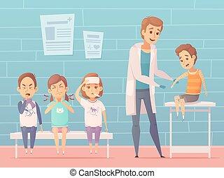 Children At Doctors Illustration