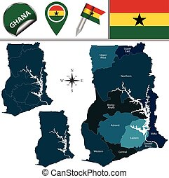Map of Ghana with Named Region - Vector map of Ghana with...