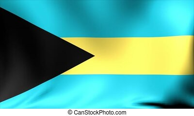 Bahamas Flag. Background Seamless Looping Animation.