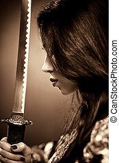 jovem, mulher, samurai, espada