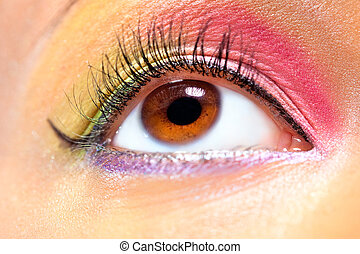Young woman eye with makeup