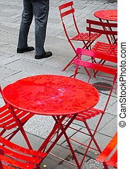 Manhattan street scene. Seating area in Times Square....