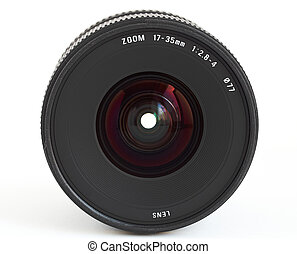 Wide angle zoom lens for SLR camera over white background